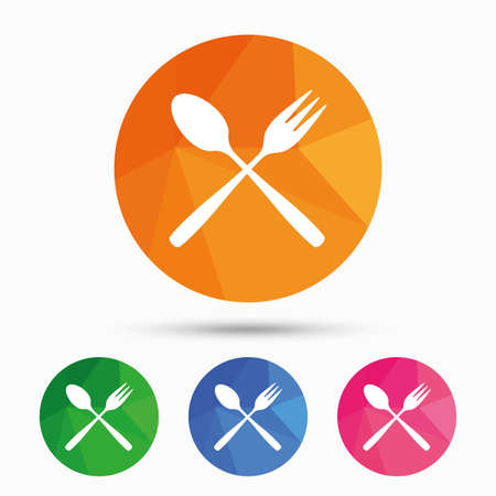 crosswise: Eat sign icon. Cutlery symbol. Dessert fork and teaspoon crosswise. Triangular low poly button with flat icon. Vector