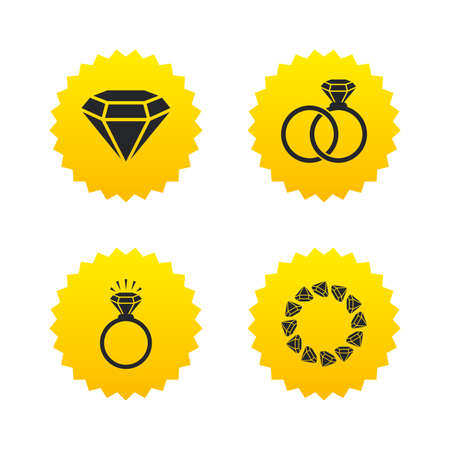fiance: Rings icons. Jewelry with shine diamond signs. Wedding or engagement symbols. Yellow stars labels with flat icons. Vector Illustration
