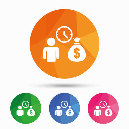 fast money: Bank loans sign icon. Get money fast symbol. Borrow money. Triangular low poly button with flat icon. Vector