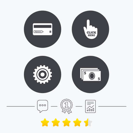 vote here: ATM cash machine withdrawal icons. Insert bank card, click here and check PIN, processing and get cash symbols. Chat, award medal and report linear icons. Star vote ranking. Vector