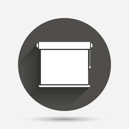 jalousie: Louvers rolls sign icon. Window blinds or jalousie symbol. Circle flat button with shadow. Vector