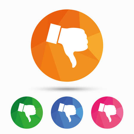 Dislike sign icon. Thumb down sign. Hand finger down symbol. Triangular low poly button with flat icon. Vector Illustration