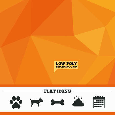 feces: Triangular low poly orange background. Pets icons. Dog paw and feces signs. Clean up after pets. Pets food. Calendar flat icon. Vector