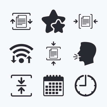 compression: Archive file icons. Compressed zipped document signs. Data compression symbols. Wifi internet, favorite stars, calendar and clock. Talking head. Vector Illustration