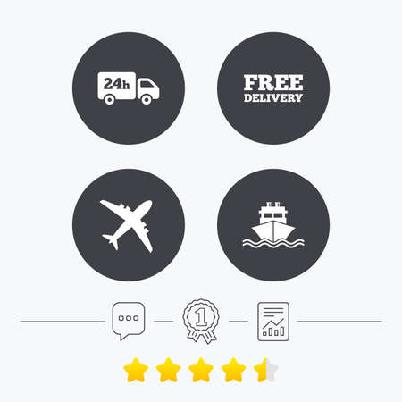free vote: Cargo truck and shipping icons. Shipping and free delivery signs. Transport symbols. 24h service. Chat, award medal and report linear icons. Star vote ranking. Vector