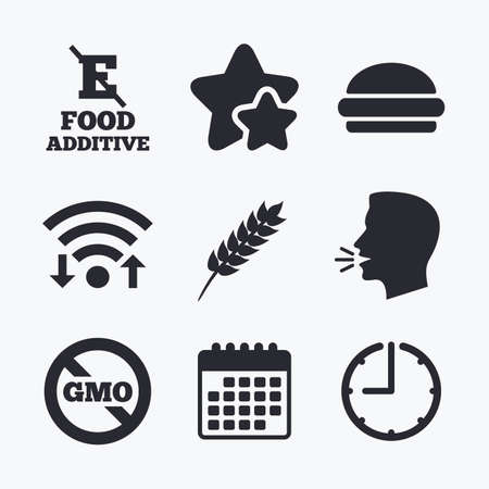 stabilizers: Food additive icon. Hamburger fast food sign. Gluten free and No GMO symbols. Without E acid stabilizers. Wifi internet, favorite stars, calendar and clock. Talking head. Vector