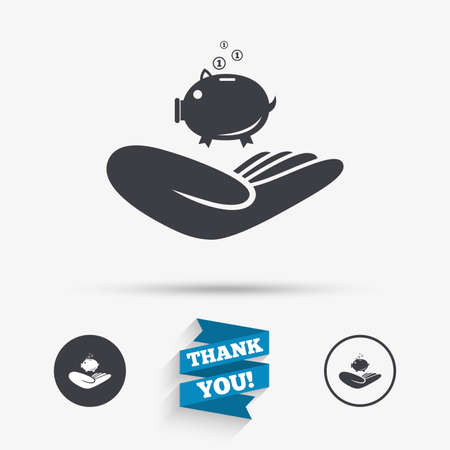 endowment: Donation hand sign icon. Hand holds Piggy bank. Charity or endowment symbol. Human helping hand palm. Flat icons. Buttons with icons. Thank you ribbon. Vector Illustration