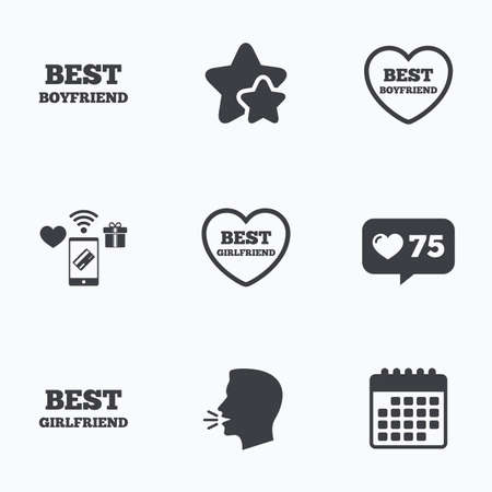 boyfriend: Best boyfriend and girlfriend icons. Heart love signs. Award symbol. Flat talking head, calendar icons. Stars, like counter icons. Vector Illustration