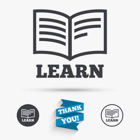 reading app: Learn Book sign icon. Education symbol. Flat icons. Buttons with icons. Thank you ribbon. Vector Illustration