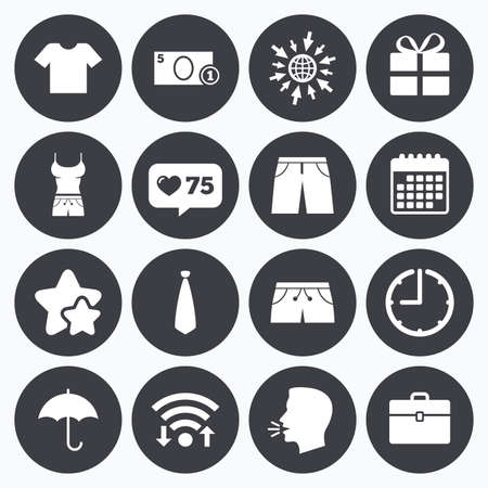 business case: Calendar, wifi and clock symbols. Like counter, stars symbols. Clothing, accessories icons. T-shirt, business case signs. Umbrella and gift box symbols. Talking head, go to web symbols. Vector