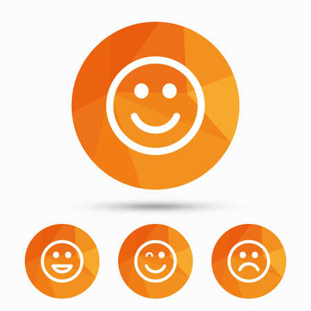 lol: Smile icons. Happy, sad and wink faces symbol. Laughing lol smiley signs. Triangular low poly buttons with shadow. Vector