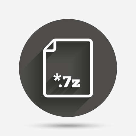 file extension: Archive file icon. Download compressed file button. 7z zipped file extension symbol. Circle flat button with shadow. Vector