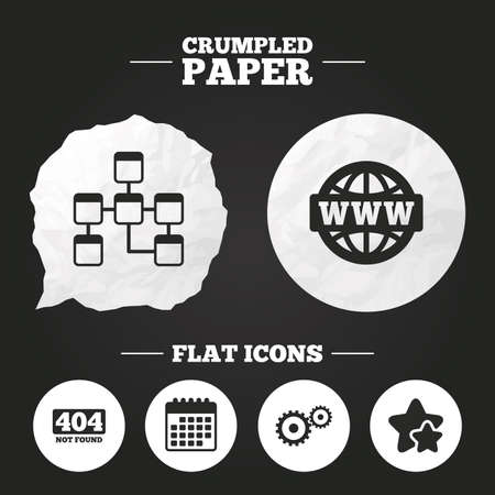mysql: Crumpled paper speech bubble. Website database icon. Internet globe and gear signs. 404 page not found symbol. Under construction. Paper button. Vector Illustration