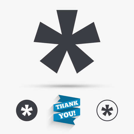 Asterisk footnote sign icon. Star note symbol for more information. Flat icons. Buttons with icons. Thank you ribbon. Vector