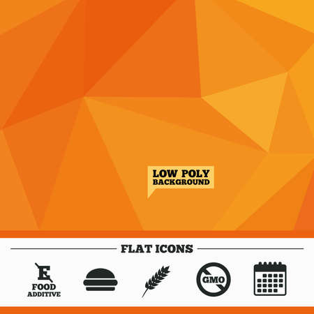 modified: Triangular low poly orange background. Food additive icon. Hamburger fast food sign. Gluten free and No GMO symbols. Without E acid stabilizers. Calendar flat icon. Vector