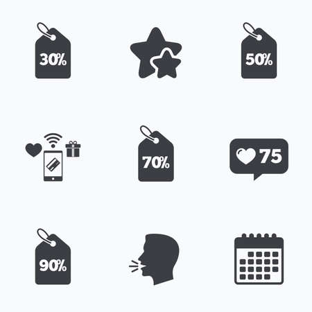 head tag: Sale price tag icons. Discount special offer symbols. 30%, 50%, 70% and 90% percent discount signs. Flat talking head, calendar icons. Stars, like counter icons. Vector Illustration