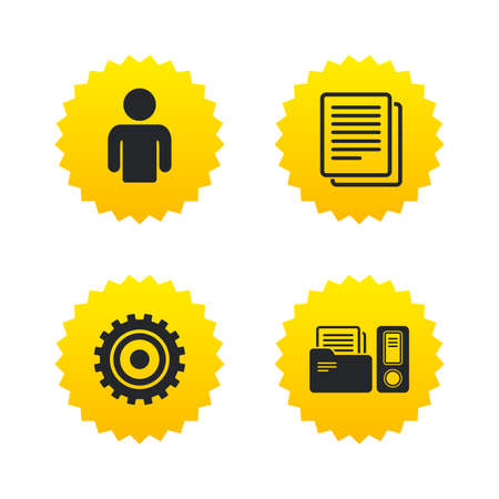 Accounting workflow icons. Human silhouette, cogwheel gear and documents folders signs symbols. Yellow stars labels with flat icons. Vector Illustration