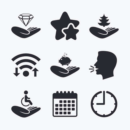 head protection: Helping hands icons. Protection and insurance symbols. Financial money savings, save forest. Diamond brilliant sign. Disabled human. Wifi internet, favorite stars, calendar and clock. Talking head. Vector Illustration