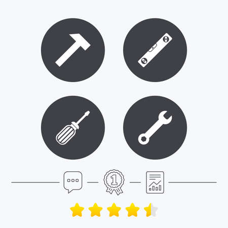 bubble level: Screwdriver and wrench key tool icons. Bubble level and hammer sign symbols. Chat, award medal and report linear icons. Star vote ranking. Vector Illustration