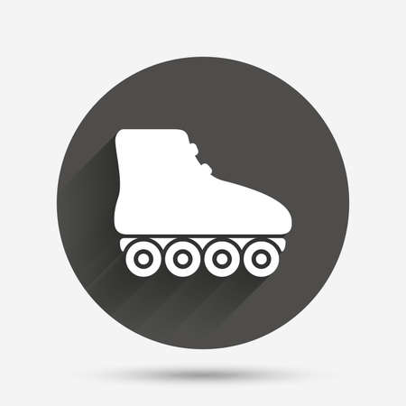 rollerblades: Roller skates sign icon. Rollerblades symbol. Circle flat button with shadow. Vector Illustration