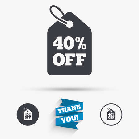 you are special: 40% sale price tag sign icon. Discount symbol. Special offer label. Flat icons. Buttons with icons. Thank you ribbon. Vector