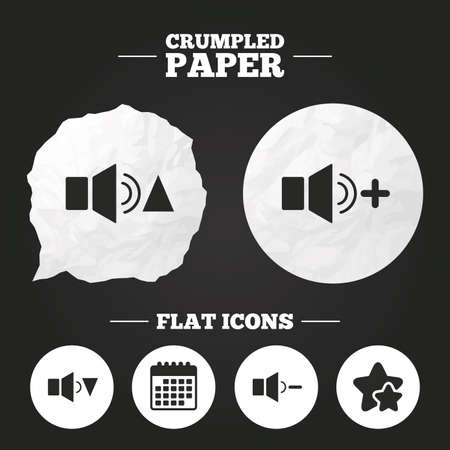 quieter: Crumpled paper speech bubble. Player control icons. Sound louder and quieter signs. Dynamic symbol. Paper button. Vector