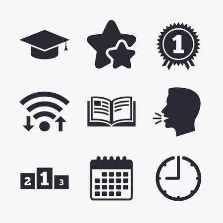 favorite book: Graduation icons. Graduation student cap sign. Education book symbol. First place award. Winners podium. Wifi internet, favorite stars, calendar and clock. Talking head. Vector