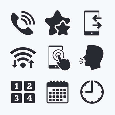 head support: Phone icons. Touch screen smartphone sign. Call center support symbol. Cellphone keyboard symbol. Incoming and outcoming calls. Wifi internet, favorite stars, calendar and clock. Talking head. Vector