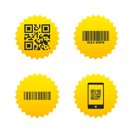 Bar and Qr code icons. Scan barcode in smartphone symbols. Yellow stars labels with flat icons. Vector Illustration