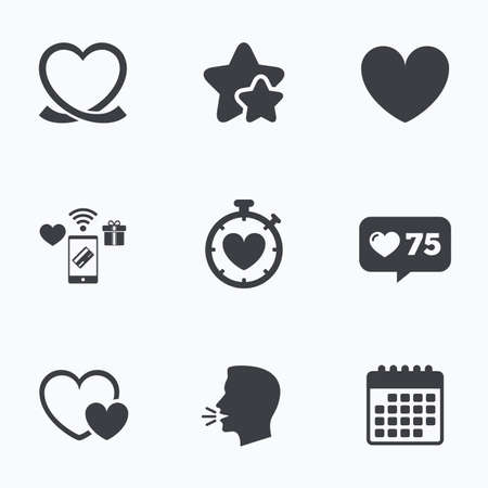 palpitation: Heart ribbon icon. Timer stopwatch symbol. Love and Heartbeat palpitation signs. Flat talking head, calendar icons. Stars, like counter icons. Vector