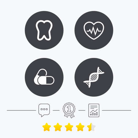 deoxyribonucleic acid: Maternity icons. Pills, tooth, DNA and heart cardiogram signs. Heartbeat symbol. Deoxyribonucleic acid. Dental care. Chat, award medal and report linear icons. Star vote ranking. Vector