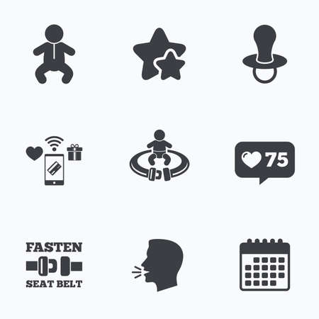 infants: Baby infants icons. Toddler boy with diapers symbol. Fasten seat belt signs. Child pacifier and pram stroller. Flat talking head, calendar icons. Stars, like counter icons. Vector
