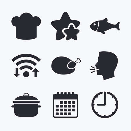 boil: Chief hat and cooking pan icons. Fish and chicken signs. Boil or stew food symbol. Wifi internet, favorite stars, calendar and clock. Talking head. Vector