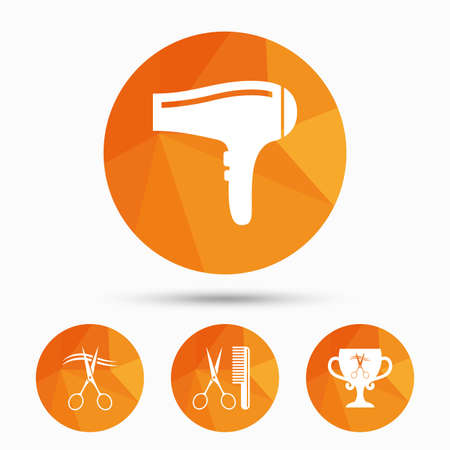 low cut: Hairdresser icons. Scissors cut hair symbol. Comb hair with hairdryer symbol. Barbershop winner award cup. Triangular low poly buttons with shadow. Vector