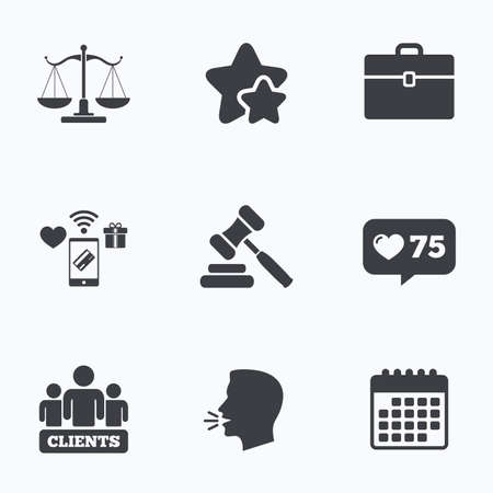 hammer head: Scales of Justice icon. Group of clients symbol. Auction hammer sign. Law judge gavel. Court of law. Flat talking head, calendar icons. Stars, like counter icons. Vector Illustration