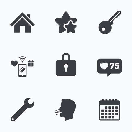 counter service: Home key icon. Wrench service tool symbol. Locker sign. Main page web navigation. Flat talking head, calendar icons. Stars, like counter icons. Vector Illustration