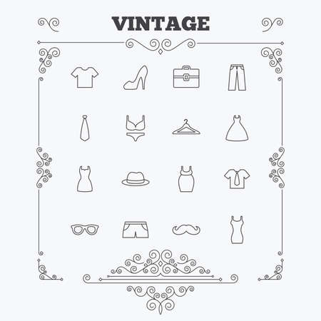 brassiere: Clothes and accessories icons. Shirt with tie, pants and woman dress symbols. Hat, hanger and glasses thin outline signs. Underwear and maternity clothes. Vintage ornament patterns. Decoration design elements. Vector