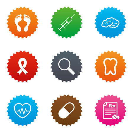 Medicine, medical health and diagnosis icons. Syringe injection, heartbeat and pills signs. Tooth, neurology symbols. Stars label button with flat icons. Vector