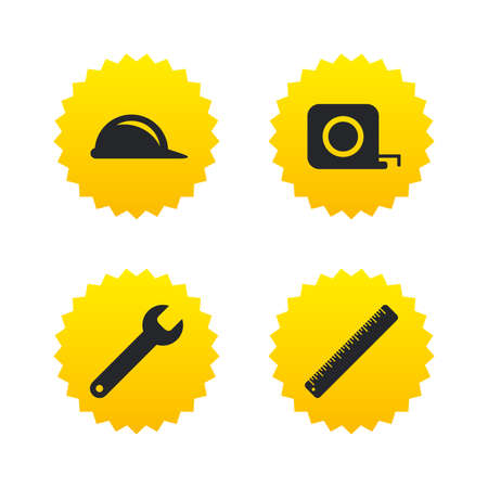 Construction helmet and wrench key tool icons. Ruler and tape measure roulette sign symbols. Yellow stars labels with flat icons. Vector