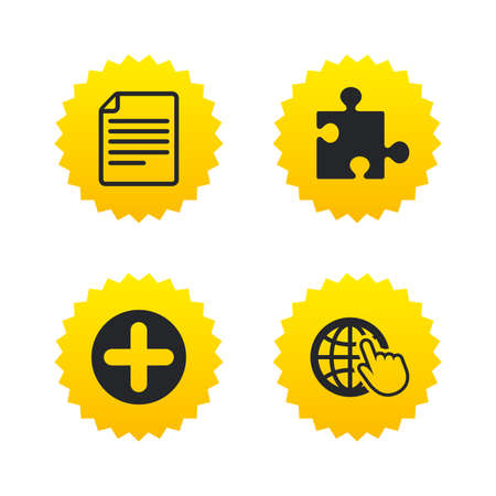 puzzle globe: Plus add circle and puzzle piece icons. Document file and globe with hand pointer sign symbols. Yellow stars labels with flat icons. Vector