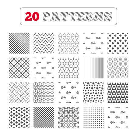 vector es: Ornament patterns, diagonal stripes and stars. Top-level internet domain icons. De, It, Es and Fr symbols with globe. Unique national DNS names. Geometric textures. Vector