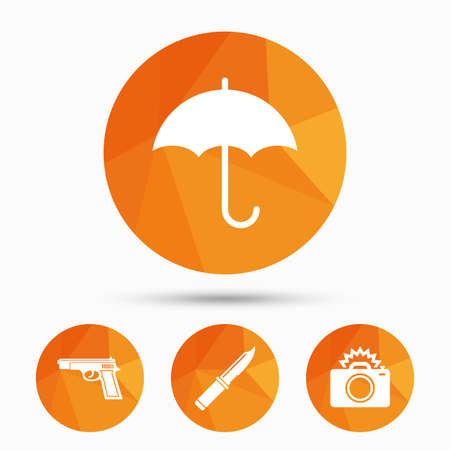 Gun weapon icon.Knife, umbrella and photo camera with flash signs. Edged hunting equipment. Prohibition objects. Triangular low poly buttons with shadow. Vector Illustration