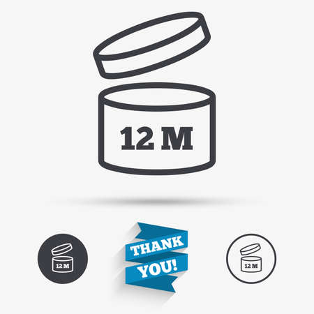 expiration: After opening use 12 months sign icon. Expiration date. Flat icons. Buttons with icons. Thank you ribbon. Vector