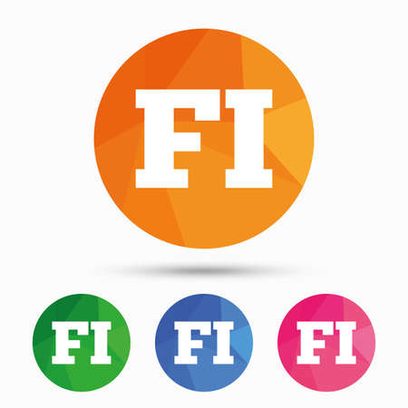 finnish: Finnish language sign icon. FI Finland translation symbol. Triangular low poly button with flat icon. Vector