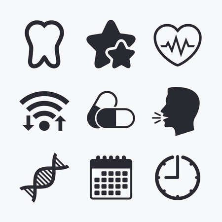 deoxyribonucleic acid: Maternity icons. Pills, tooth, DNA and heart cardiogram signs. Heartbeat symbol. Deoxyribonucleic acid. Dental care. Wifi internet, favorite stars, calendar and clock. Talking head. Vector Illustration