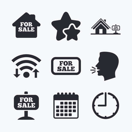 house for sale: For sale icons. Real estate selling signs. Home house symbol. Wifi internet, favorite stars, calendar and clock. Talking head. Vector