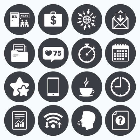 head phone: Calendar, wifi and clock symbols. Like counter, stars symbols. Office, documents and business icons. Accounting, human resources and phone signs. Mail, salary and statistics symbols. Talking head, go to web symbols. Vector Illustration