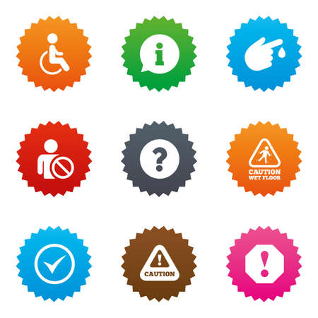 wet floor sign: Attention notification icons. Question mark and information signs. Injury and disabled person symbols. Stars label button with flat icons. Vector