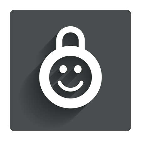 child protection: Child lock icon. Locker with smile symbol. Child protection. Gray flat square button with shadow. Modern UI website navigation. Vector