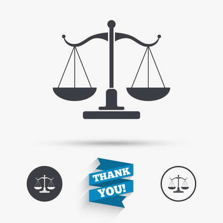 court symbol: Scales of Justice sign icon. Court of law symbol. Flat icons. Buttons with icons. Thank you ribbon. Vector Illustration